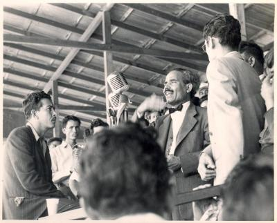 Albizu Campos at a microphone talking to the crowd