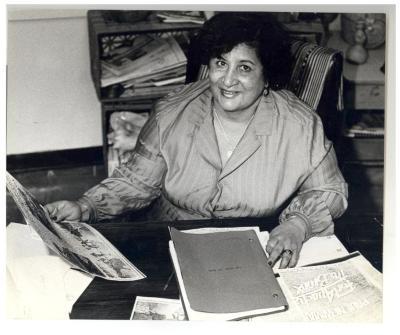 Evelina López Antonetty at her desk
