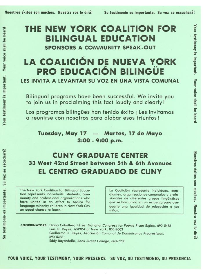 The New York Coalition for Bilingual Education Sponsors a Community Speakout