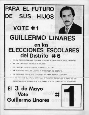 Vote #1 Guillermo Linares en los Elecciones Escolares del Distrito #6
