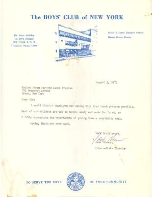 A thank you letter from the Boys' Club of New York