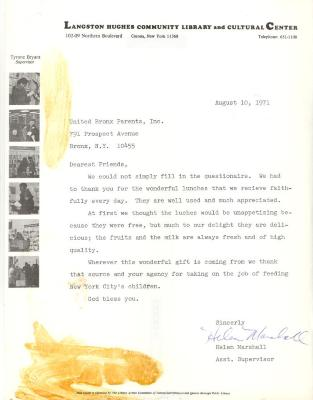 Correspondence from the Langston Hughes Community Library and Cultural Center