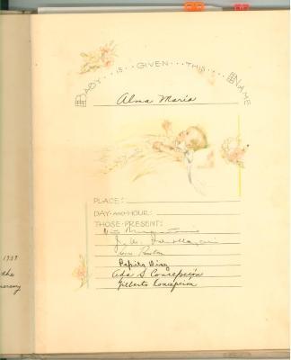 Alma Concepción Suárez baby book