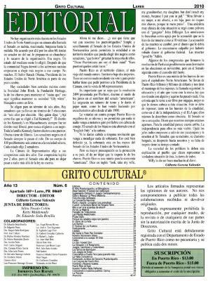 Grito Cultural - Editorial Page