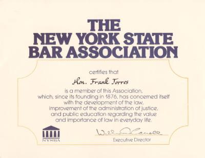 NYS Bar Association Certificate to Hon. Frank Torres