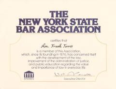 NYS Bar Association Certificate to Hon. Frank Torres