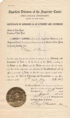 Certificate of Admission as Attorney and Counselor, to Felipe N. Torres