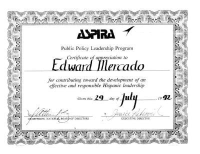 Certificate from ASPIRA to Edward Mercado