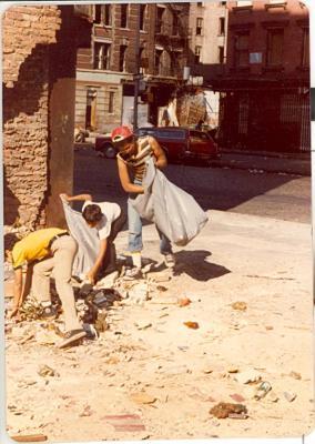 Youths picking up garbage