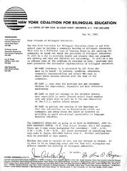 Letter from the New York Coalition for Bilingual Education