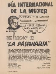 """Dia Internacional de la mujer en honor a """"La Pasionaria"""""""