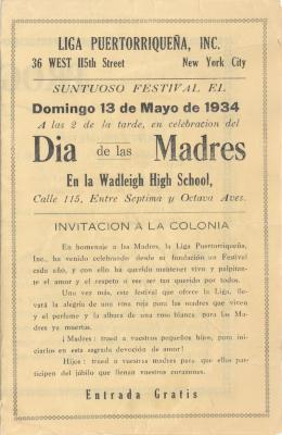 Invitation to celebrate Mother's day from la Liga Puertorriqueña, INC
