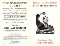 Reelija al Congresista Vito Marcantonio Luchador por Puerto Rico / Re-elect Congressman Vito Marcantonio - Fighter for Puerto Rico