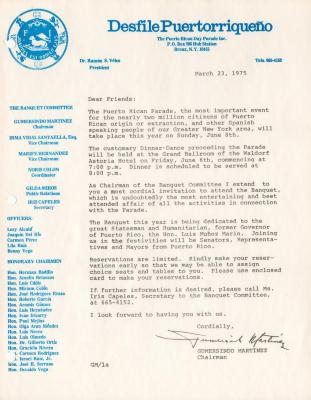 Invitation letter from the Desfile Puertorriqueño