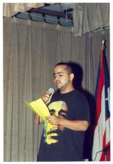 Man speaking onstage during ¡MUÉVETE! Boricua Youth Conference