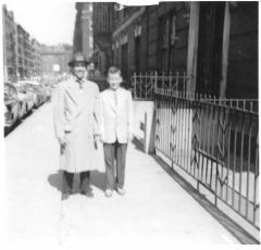 Richie Pérez as a boy with his father