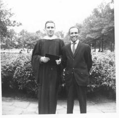 Richie Pérez as a Hunter graduate with his father