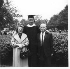 Richie Pérez as a Hunter graduate with his grandparents