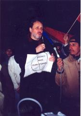 Richie Pérez at a anti-Giuliani demonstration, protesting his racial double standard