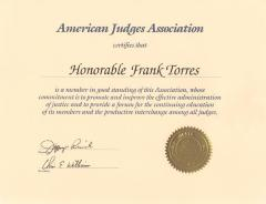Certificate to Honorable Frank Torres