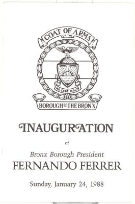 Inauguration of Bronx Borough President Fernando Ferrer