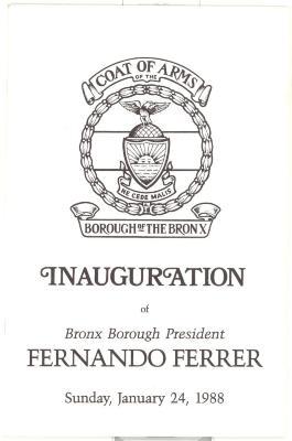 Inauguration of Bronx Borough President Fernando Ferrer