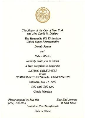 Invitation to reception honoring the Latino Delegates to the Democratic National Convention