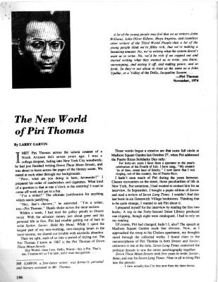 The New World of Piri Thomas