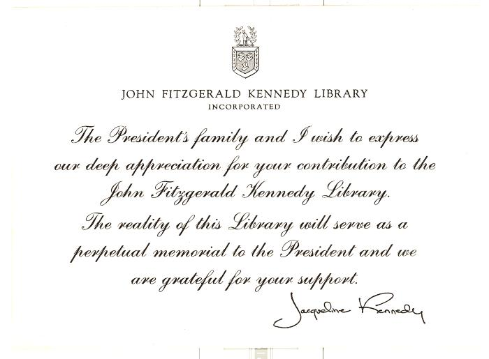 A thank you card from Jacqueline Kennedy