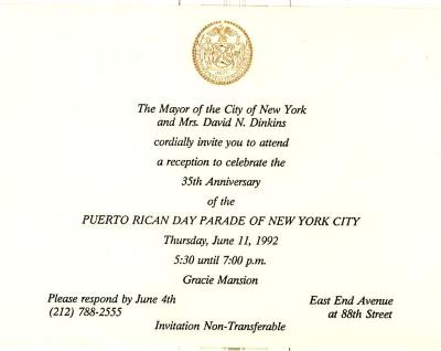 Invitation to celebrate 35th Anniversary of Puerto Rican Day Parade