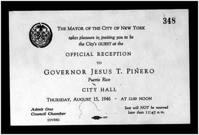 Official Reception to Governor Jesus T. Pinero
