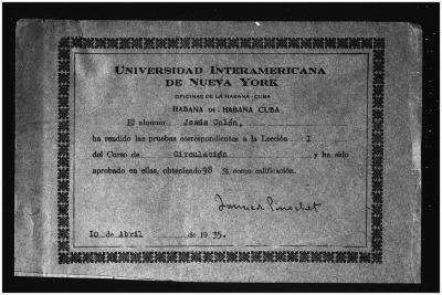 Universidad Interamericana de Nueva York certificate for Jesús Colón
