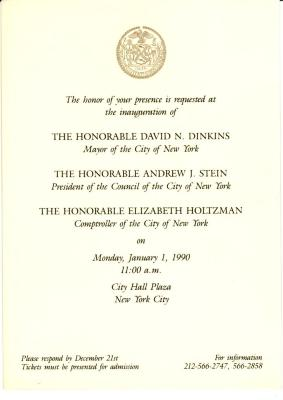 Invitation to the inauguration of New York City Mayor David Dinkins