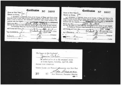 Marriage Certificates and Passport for Jesús Colón and Concha Fernandez