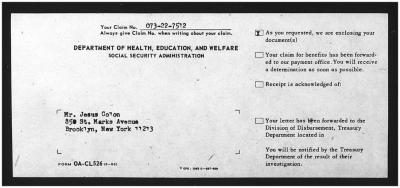 Social Security correspondence