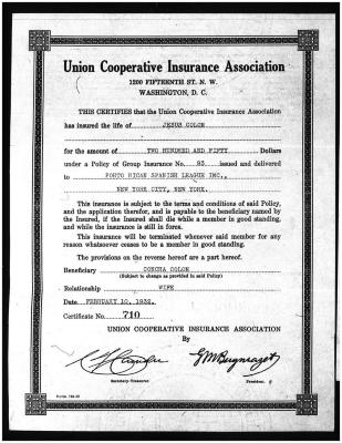 Insurance Certificate for Jesús Colón