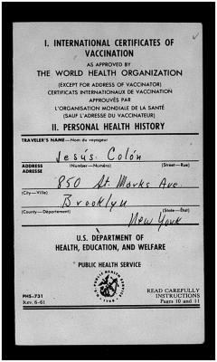 Vaccination certificate for Jesús Colón and Clara (Bertha) Colón