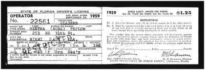 Florida Driver's License for Clara (Bertha) Colón
