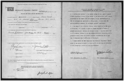 Beneficiary Certificate