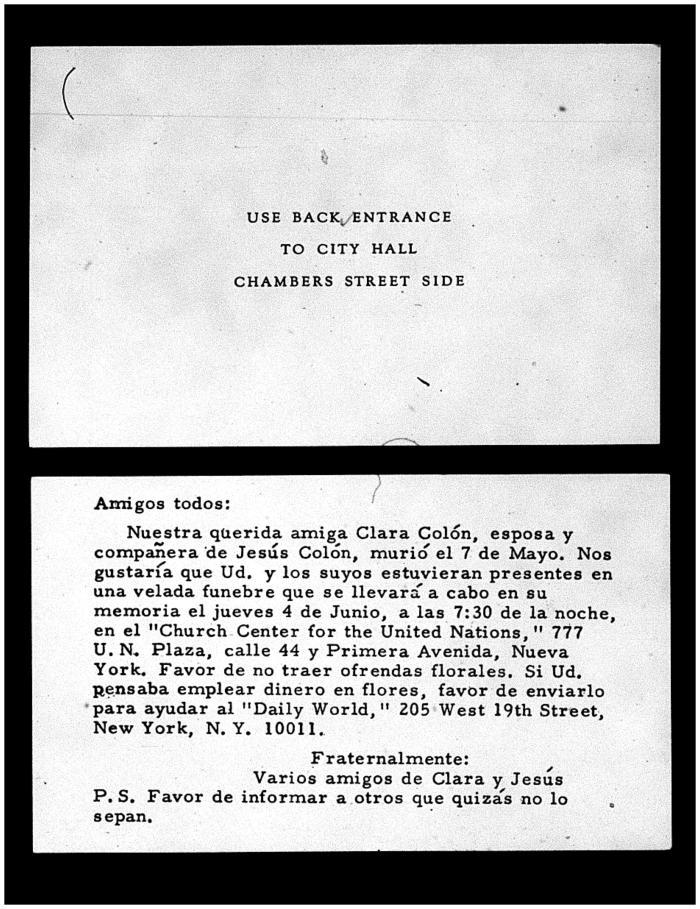 Funeral notice of Clara Colón