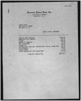 Funeral home expenses invoice