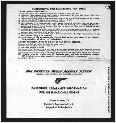 Pan-Am Passenger Clearance Information Form