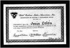 Club Cubano Interamericano Certificate