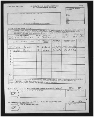 Medical assistance application for Jesús and Clara Colón