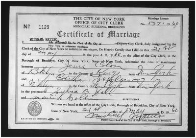 Marriage Certificate for Jesús Colón and Bertha Colón