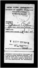 NYU Registrar Bursar for Jesús Colón