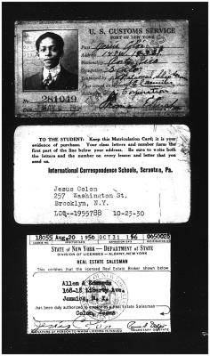 Jesús Colón's student cards and U.S. customs cards