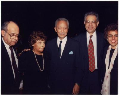 Frank Torres, Yolanda Torres, Mayor David Dinkins, Cesar Perales and Josephine Nieves