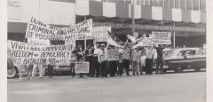 A protest against Dictator Trujillo outside Rockefeller Center