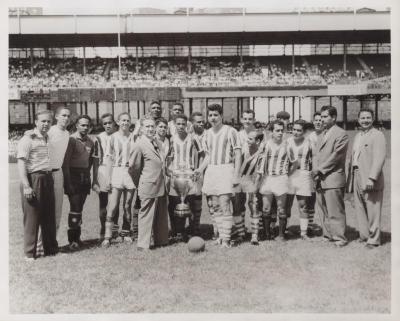 A Honduran soccer team receiving a trophy